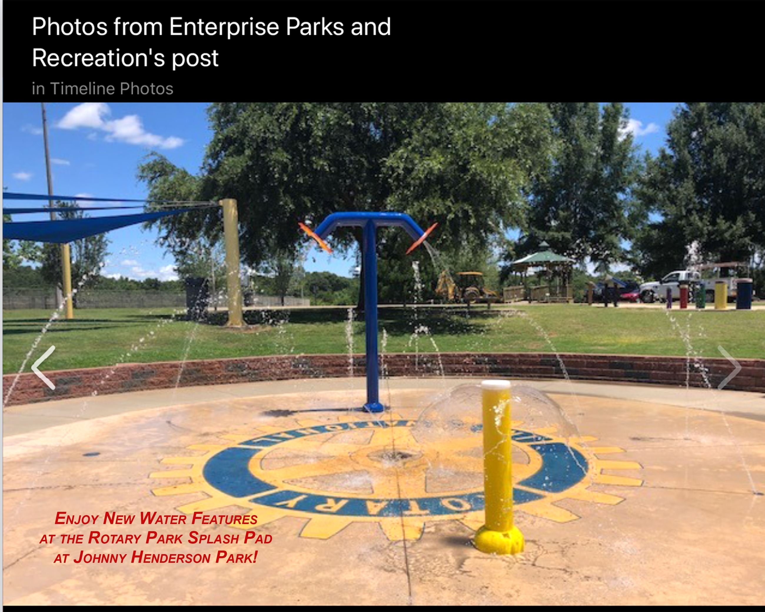 New water features have been added to the Splash Pad at Rotary Park.