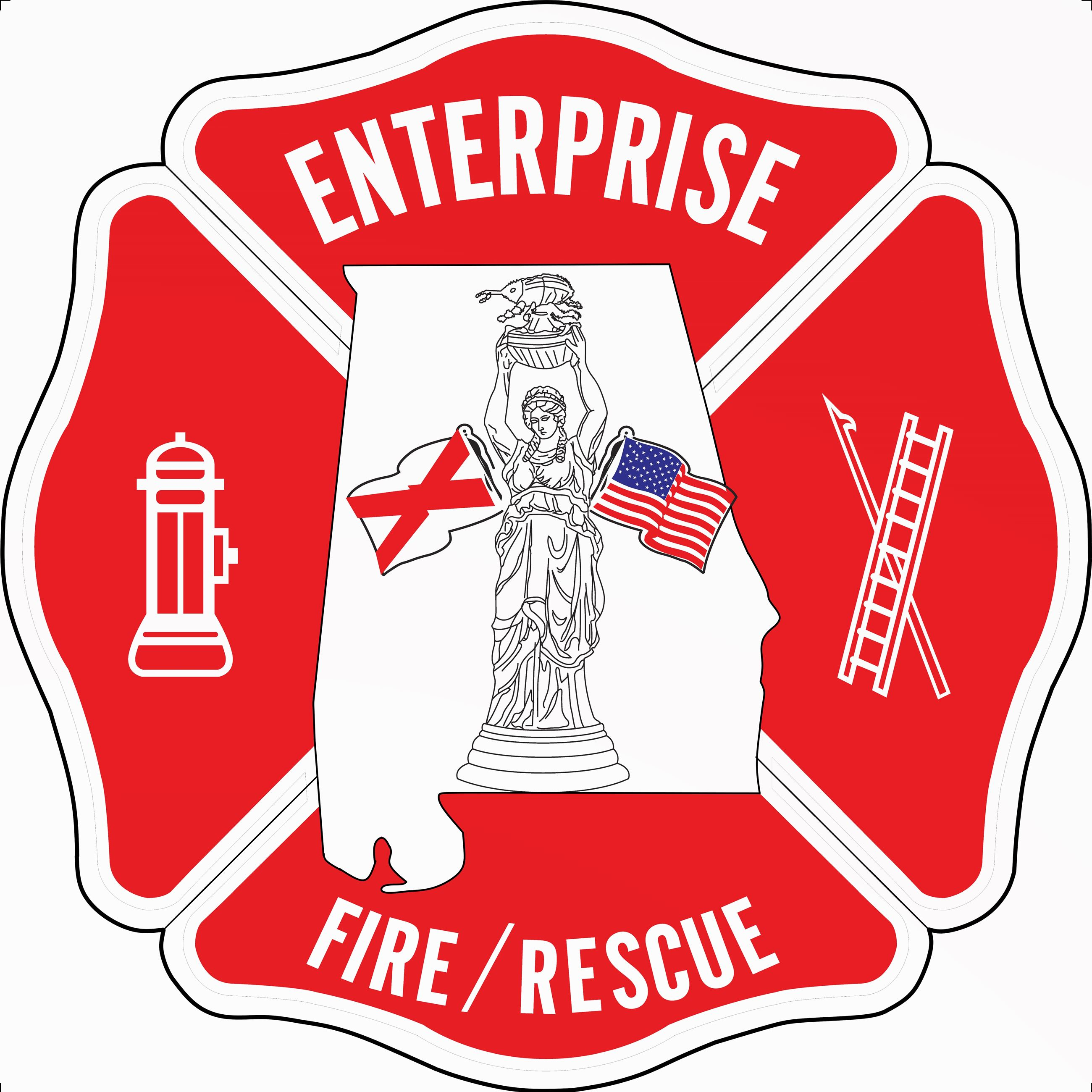 Maltese cross design for Enterprise Fire Department
